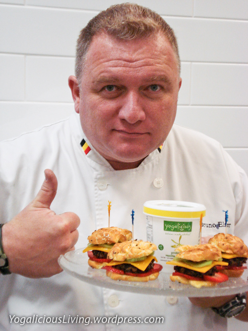 Chef Bruno Elsier with his creation, the delicious Yogalicious Dessert Burger!